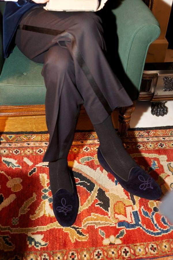 Selfridges London men's shoe department, bespoke slippers, velvet.