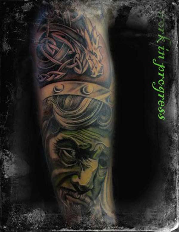 Tattoo London The Circle.green face man