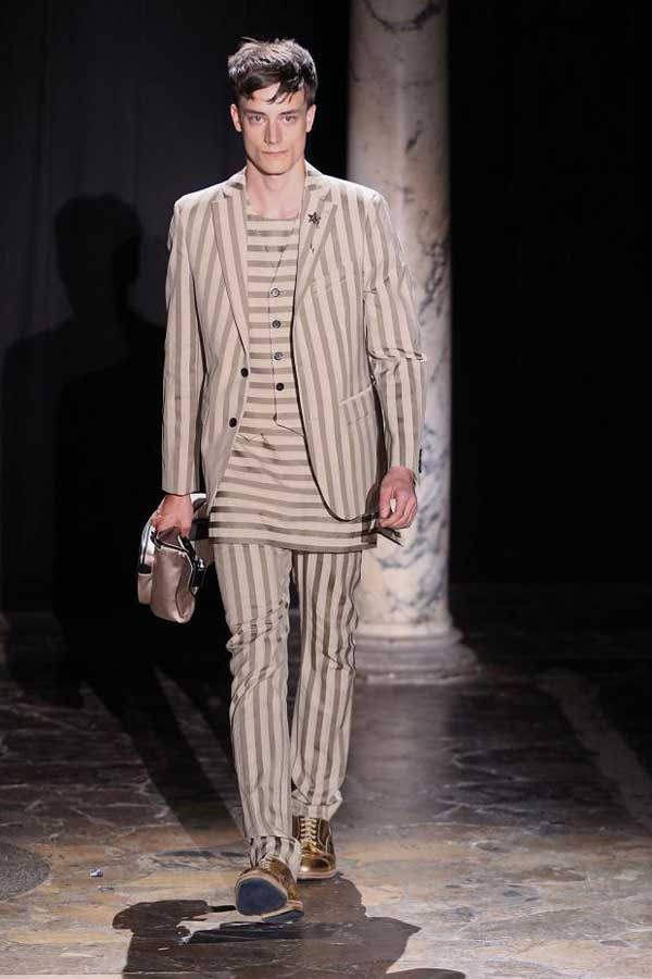 ACNE - Beige striped suits for men 2013