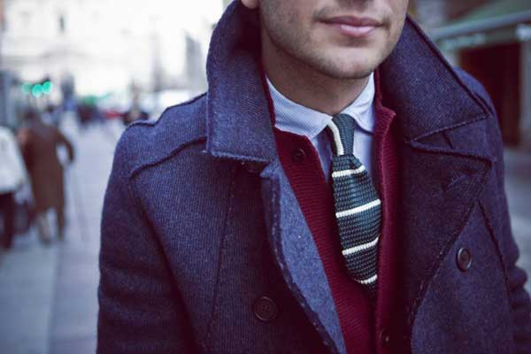 Blue jacket with red cardigan