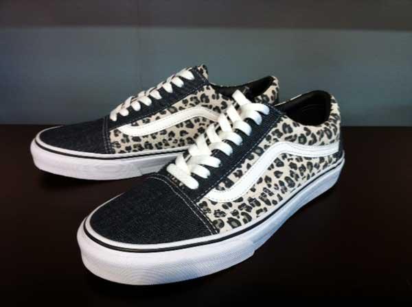 Vans leopard trainers with denim