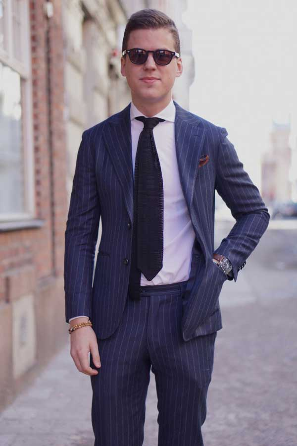 Pinstriped suits for men blue