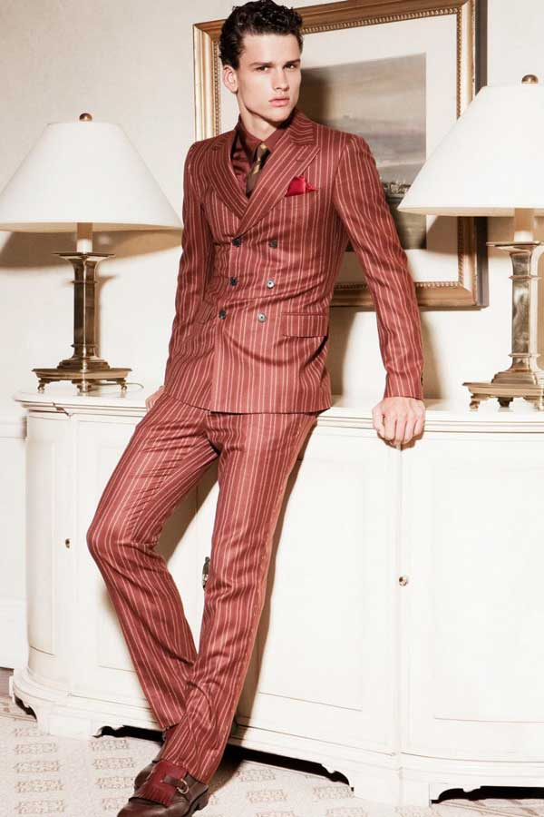 Pin striped suits for men red