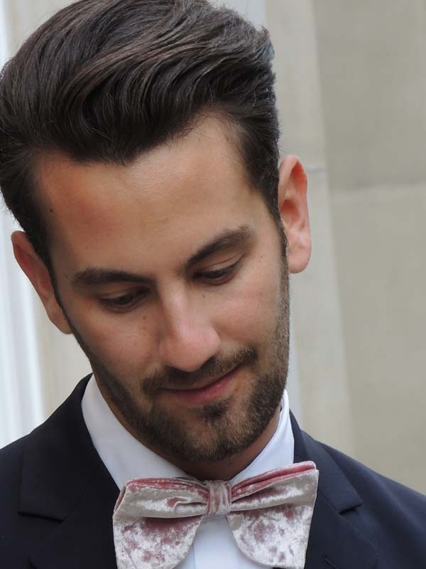 Dolce & Gabbana London Menswear Store Opening at Bond Street - Matthew Zorpas wore our Crushed Pink Velvet Velsvoir Bowtie!