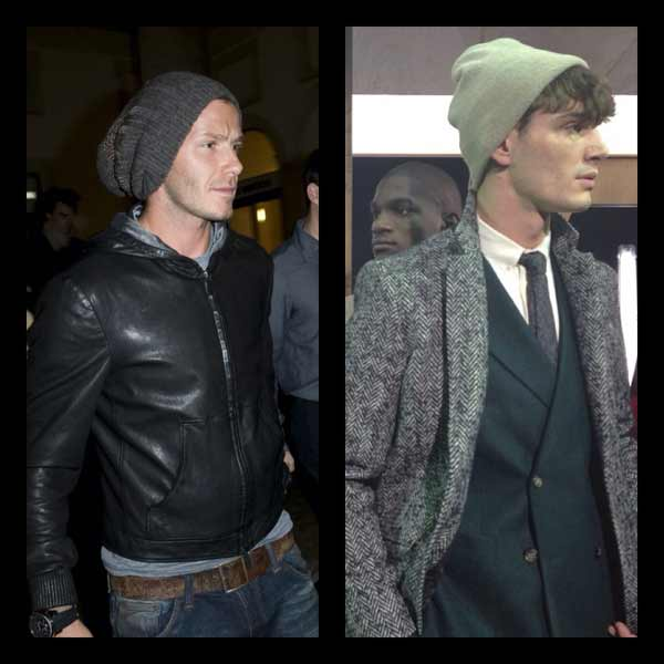 Beanie - David Beckham wearing a grey beanie