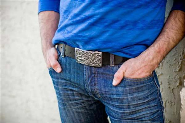 Black leather belt and buckle for men