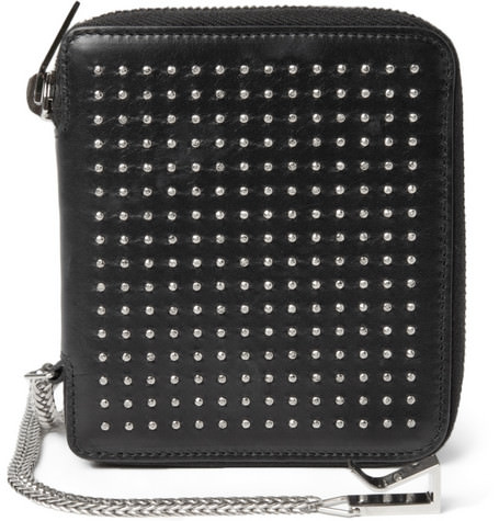 Saint Laurent Studded Leather Wallet with Chain