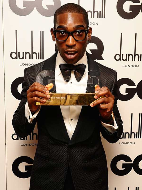 Tinie Tempah wearing a dinner suit