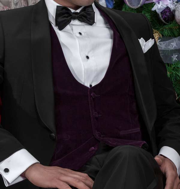 Waistcoats worn with a Tuxedo rich velvet deep purple