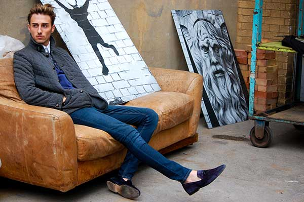 Conor Scurlock posing for menstylefashion article junk-yard Fashion