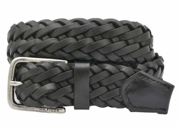 mens leather belts black weave