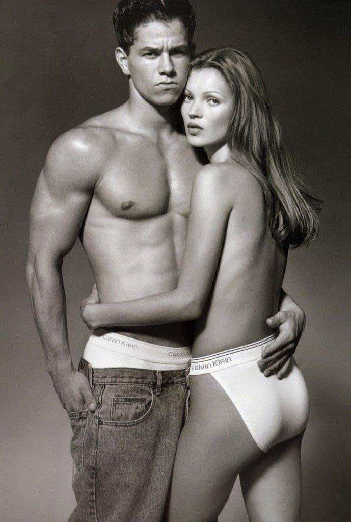 Mark Wahlberg and Kate moss modelling for Calvin Klein underwear