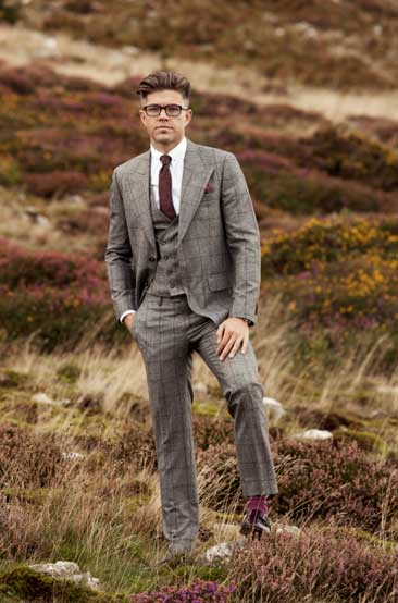 'The-Holland'---Grey-&-Burgundy-Check-3-piece-suit