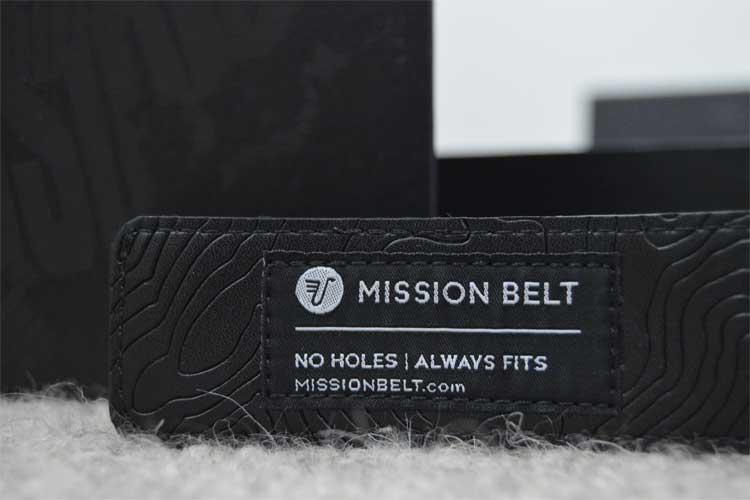 Mission Belt label close up - No Holes Always fits