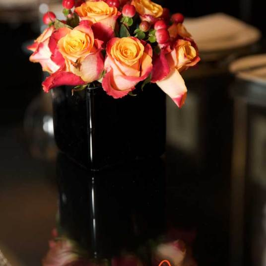 Roses on the dining table
