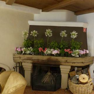 Lounge Area - Fireplace with flowers