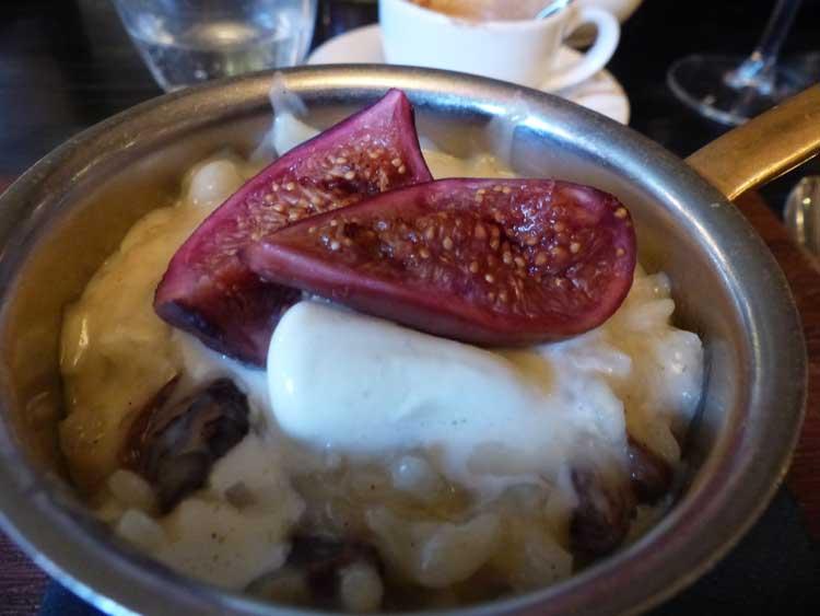 Rum and Raisin rice pudding, roast fig, clotted cream
