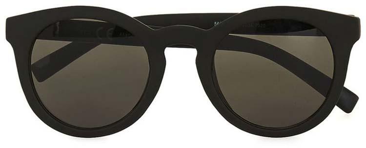 Topman Black Round Rubberised Sunglasses