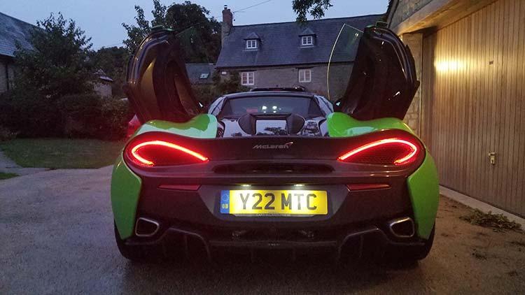 570s McLaren Mantis Green rear lights