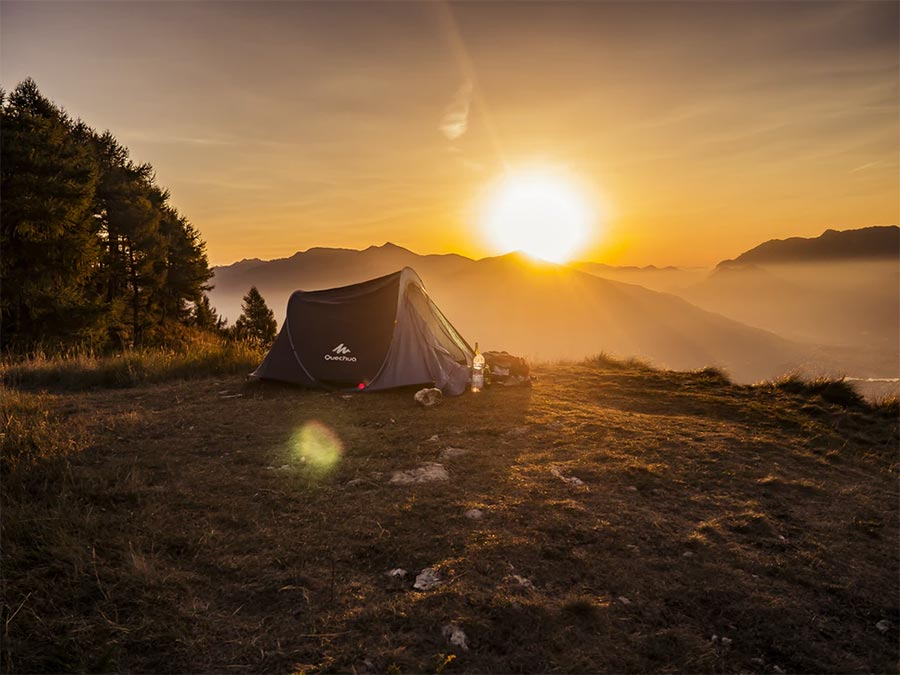camping in the mountains sunrise