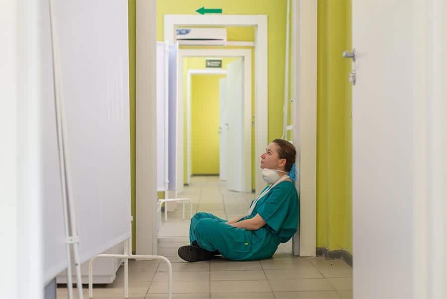 Nurse taking a break in a hospital