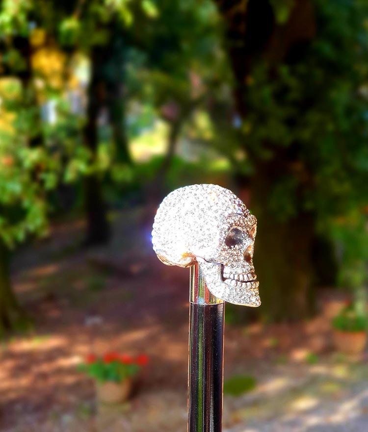 Archer Adam London - Damien' Swarovski Skull Umbrella (9)