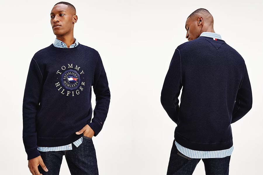 STRUCTURED PULLOVER WITH EMBROIDERED LOGO
