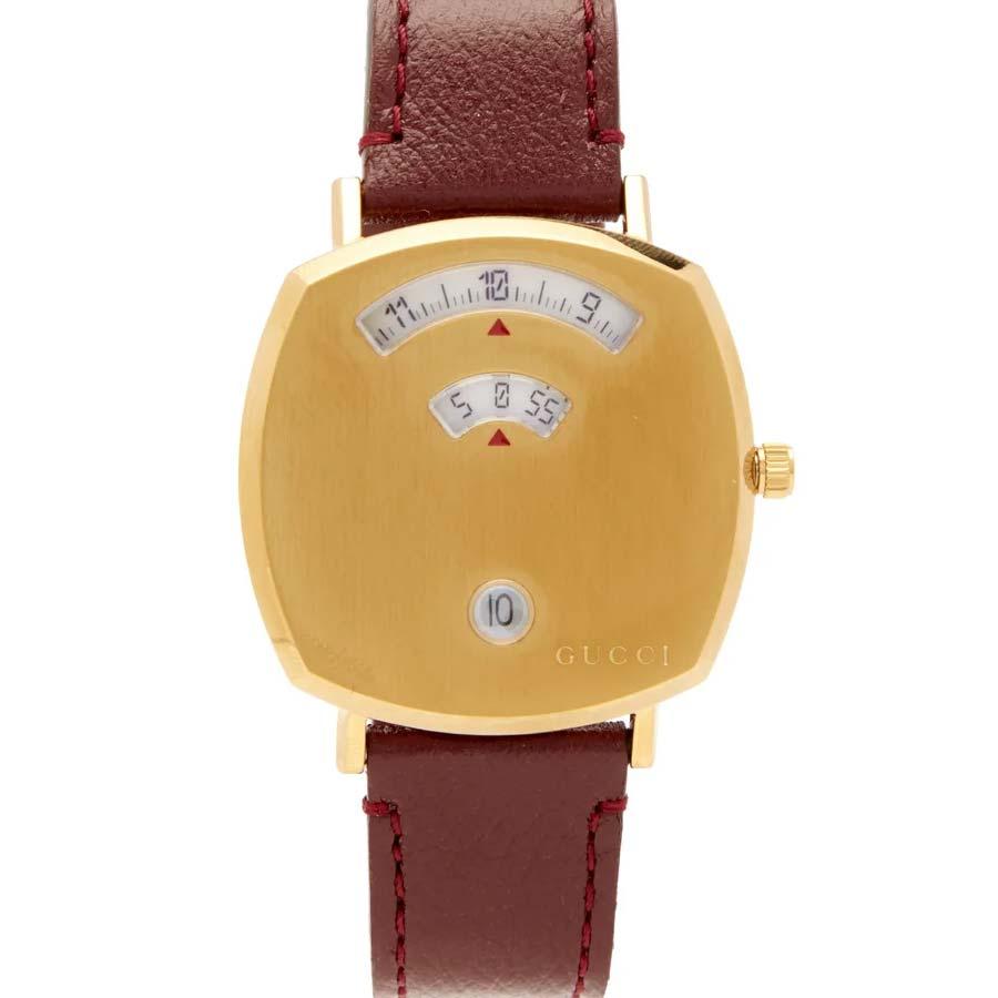 Gucci Grip three-window gold PVD watch
