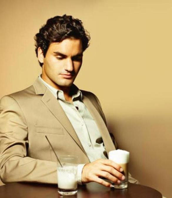 Federer in his beige attire for a Nespresso Ad. Given his skin tone, the palette of the styling truly suits him.