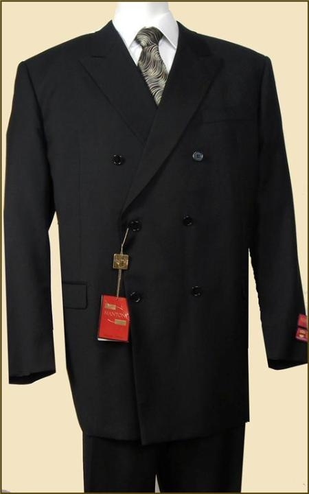 Mens Double Breasted Suit Jacket + Pleated Pants Super 140's 1 Wool Solid Black