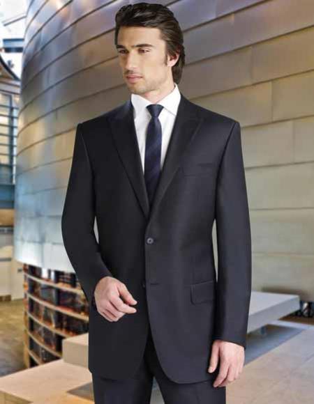 50ae8ef55b8509 Black 2 Button Tiglio Italian Super 150's Wool Peak Lapel Single Breasted  Suit