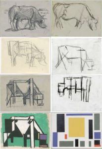 Figure 16.5 Stages of Abstraction as seen by an artist. Near photo to less and less detail until geometric block shapes