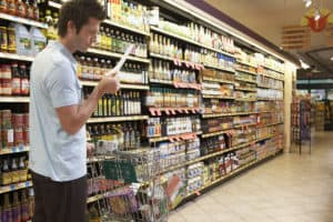 Figuree 16.3 Grocery shopping considering the list amid an aisle of teeming variety
