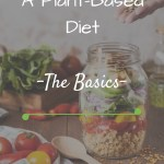 Salad jar and vegetables on table with text overlay - A plant-based diet - the basics -