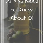 Bottle of oil and olives on a table with text overlay - All you need to know about oil