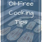 Eggplant on a grill with overlay text - Oil-free cooking tips