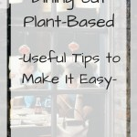 View of a restaurant through a window with overlay text - dining out plant-based - useful tips to make it easy