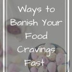 Chocolate candies on white backdrop with overlay text - the best ways to banish your food cravings fast