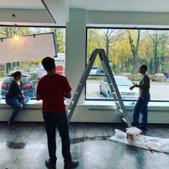 Das Café entsteht –Streicharbeiten im Herbst 2019