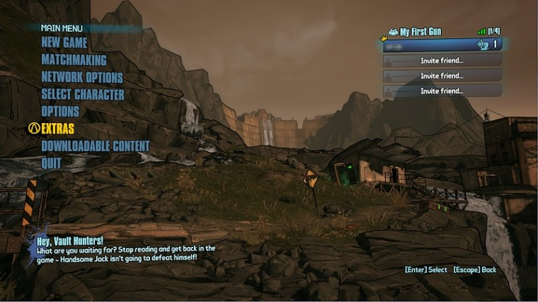 Borderlands 2 Main Menu