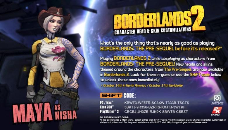 borderlands 2 shift codes Maya as Nisha