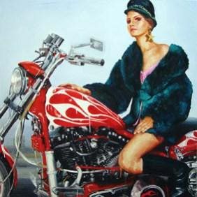 Ida Tursic & Wilfried Mille La Motocycliste, 2001. Olio su tela, 150x150 cm Collezione privata, Parigi Courtesy Galleria Alfonso Artiaco, Napoli