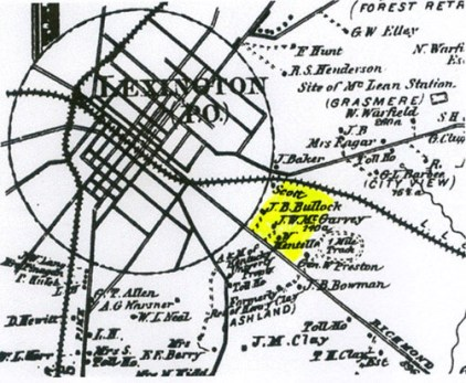 Neighborhood highlighted on a late 1800s map.