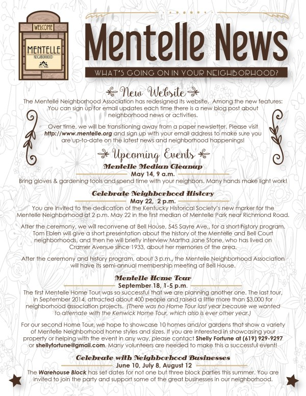 Mentelle Park Assoc Newsletter - May 2016