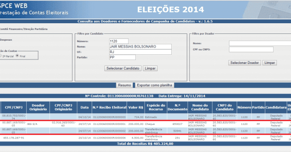 tela da prestacao de contas eleitorias de jair messias bolsonaro, mostrando o recebimento de propino do seu partido e com ele sendo favorecido.
