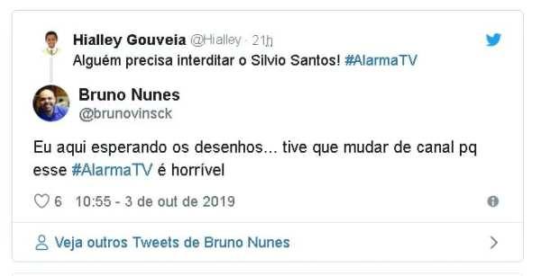 Alguém precisa interditar o Silvio Santos! #AlarmaTV Eu aqui esperando os desenhos... tive que mudar de canal pq esse #AlarmaTV é horrível