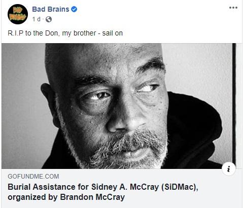 Morre Sid McCray, vocalista original do lendário Bad Brains