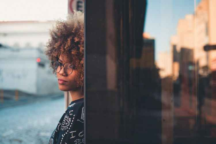 a black lady thinking