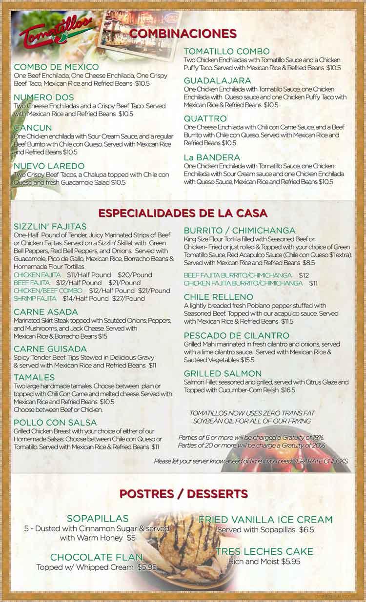 Tomatillos Restaurant Menu In San Antonio