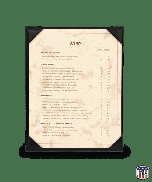single one view imitation leather menu holders